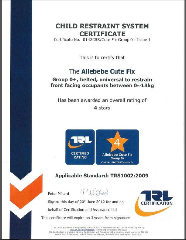 Сертификат на автокресло KURUTTO 3i