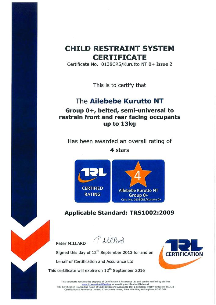 Сертификат на автомобильное кресло KURUTTO NT2